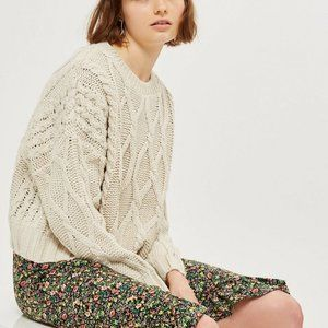 Topshop Cream Cable Knit Chunky Cropped Sweater